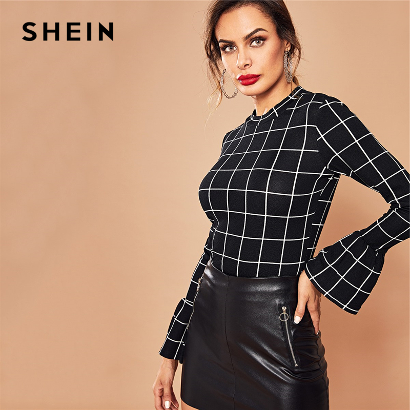 SHEIN Black Elegant Workwear Plaid Ruffle Cuff Bell Sleeve Stand Collar Grid Blouse Autumn Office Lady Women Tops And Blouses