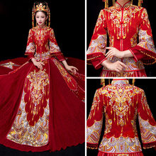 Plus Size 4XL 5XL 6XL Nice Style Chinese Traditional Dress Red Wedding Dress Long Evening Dress Embroidery Cheongsam Clothing(China)