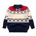 Padrão Menino Suéter de Crochê de Algodão Quente Menino Top Outerwear Pullover Crianças Camisola Roupas Infantis Criança Outfit Meninos Malhas 2016
