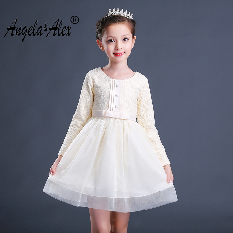 Angela&Alex Girls Long Sleeve Dress Christmas Red Bowknot Mesh Lace Dress Children Ball Gown Outwear Princess Party Casual Wear girls europe and the united states children s wear red princess long sleeve princess dress child kids clothing red bow lace