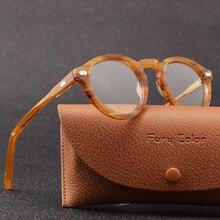 Retro yuvarlak küçük asetat çerçeve optik gözlük çerçeve şeffaf lens gözlük çerçeve kadın erkek miyopi gözlük reçete çerçeve