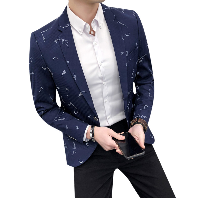 Mens Casual Blazer New Fashion Slim Fit Suit Jacket M-3Xl Single Button Spring Coat Autumn Coat Business Printed Jackets