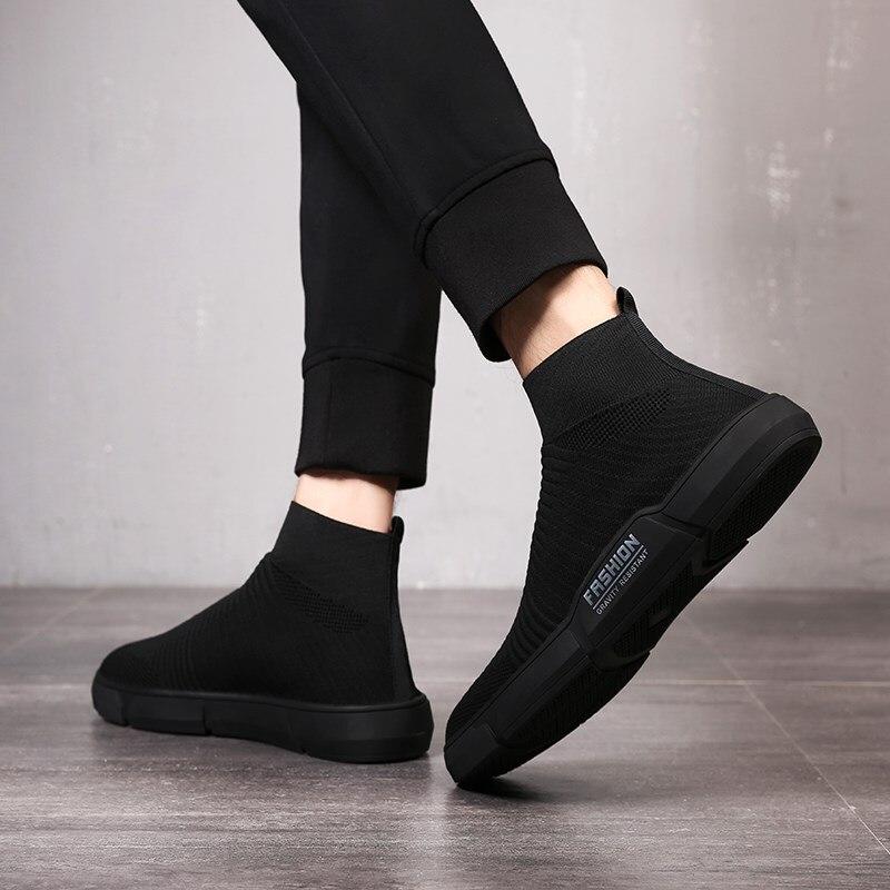 Maggie's Walker nouveauté hommes maille chaussures décontractées mode plate-forme élastique chaussures en toile tricoté respirant chaussures taille 40 ~ 44 - 2