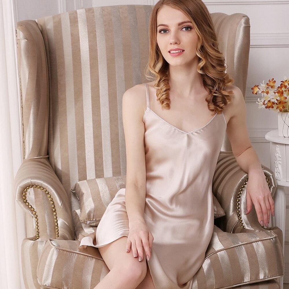 100% Wahr Silk Pyjamas Für Damen Sommer V-ansatz Reizvolle Schlaf Kleid Khaki Schwarz Grau Natrual Stoff Qualität Bekleidung Kostenloser Versand Guter Geschmack
