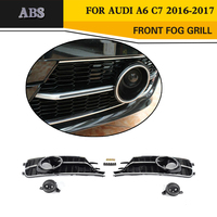 A6 ABS Black Mesh Fog Light Grille Protective Covers For Audi A6 C7 Standard Bumper Only