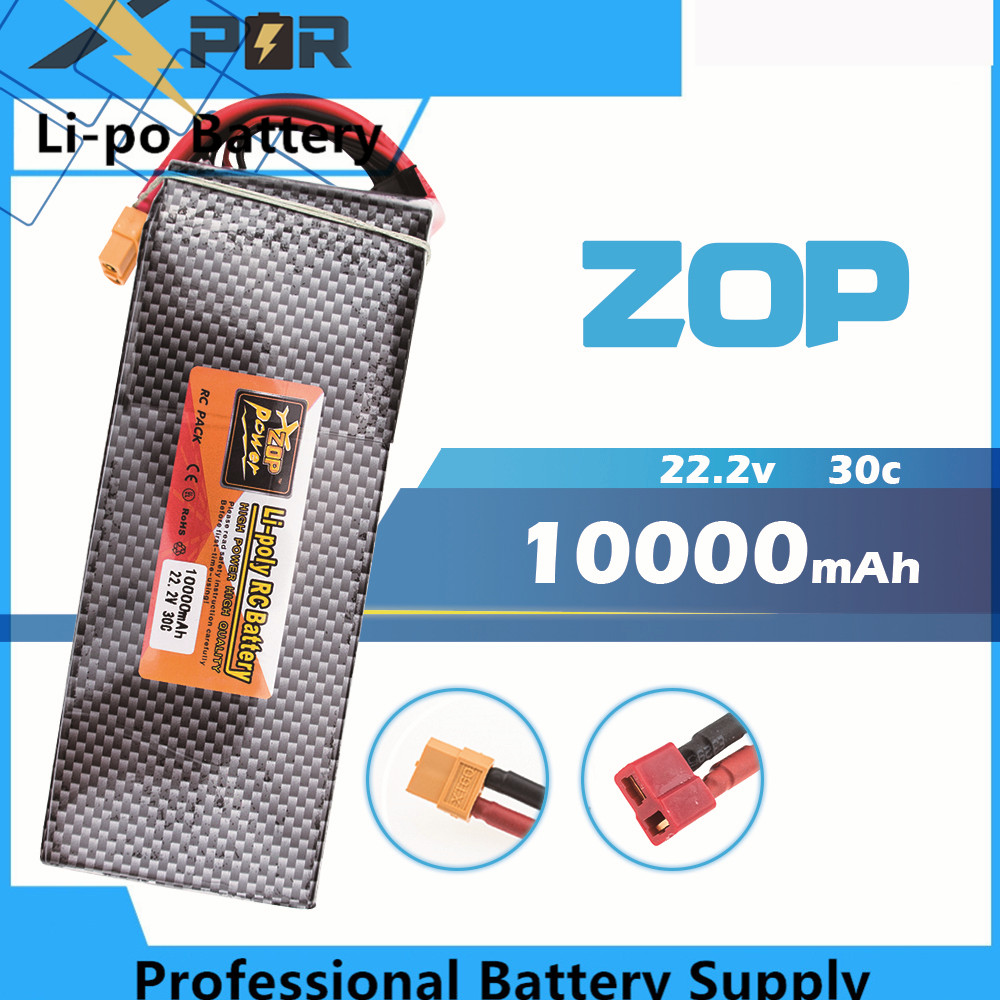 22.2V 6s ZOP Lipo battery 10000mAh 30C max 35C Xpower XT60 T plug for rc drone Helicopter Airplane parts image
