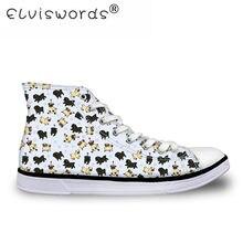 68590d07b ELVISWORDS 3D Pug Impresso de Alta Top Sapatos de Lona Mulheres Moda Flats Mulheres  Sapatos Vulcanize para Adolescente Meninas L..