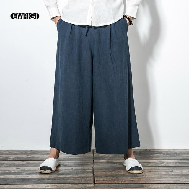 ac810f13d53a4 Otoño nuevos hombres cómodo algodón Lino Pantalones anchos Japón estilo  punk estilo masculino moda casual Pantalones