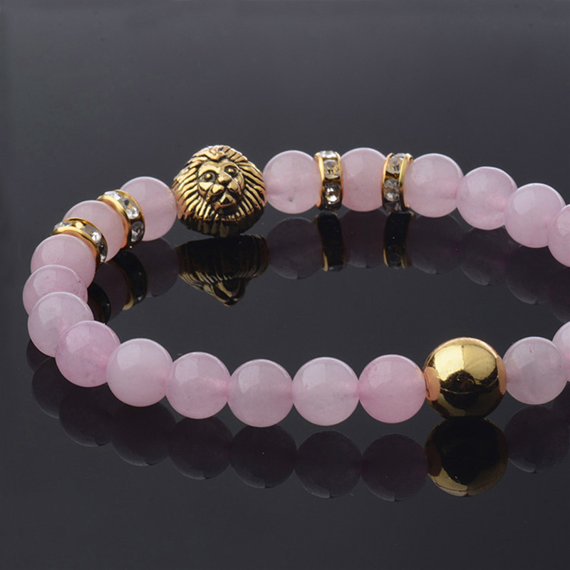 New Fashion Pink - natural crystal  Buddha pear Beaded Charm Bracelet