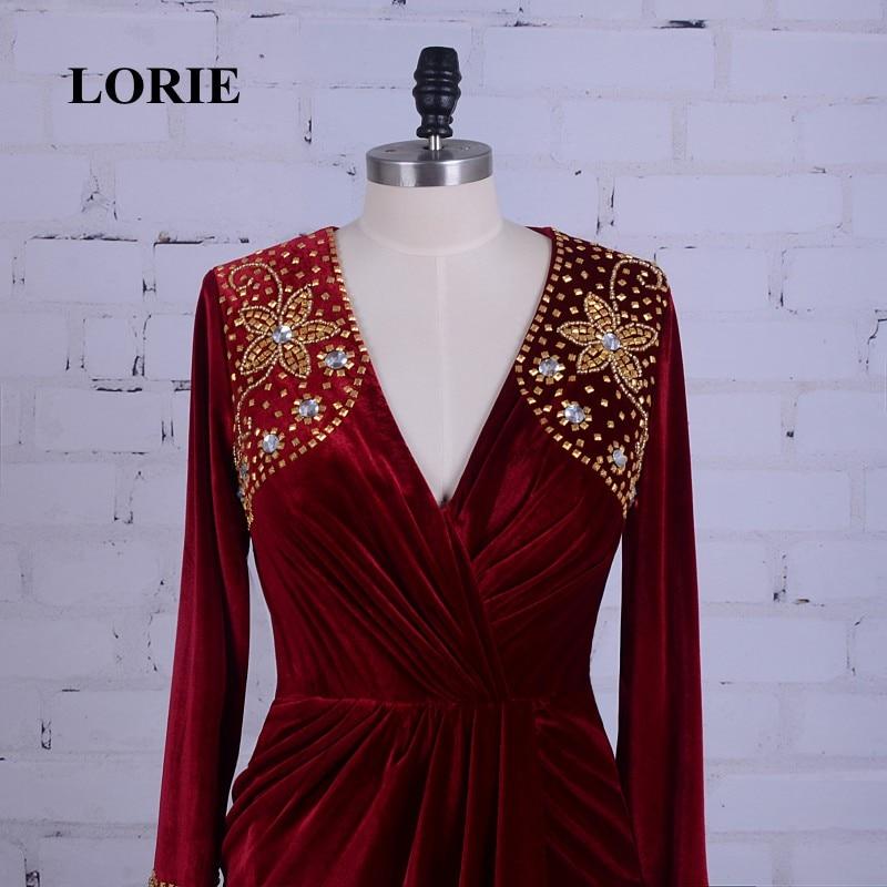 LORIE Burgundska večernja haljina Velvet V-Neck Beaded Zlatni kamen - Haljina za posebne prigode - Foto 2