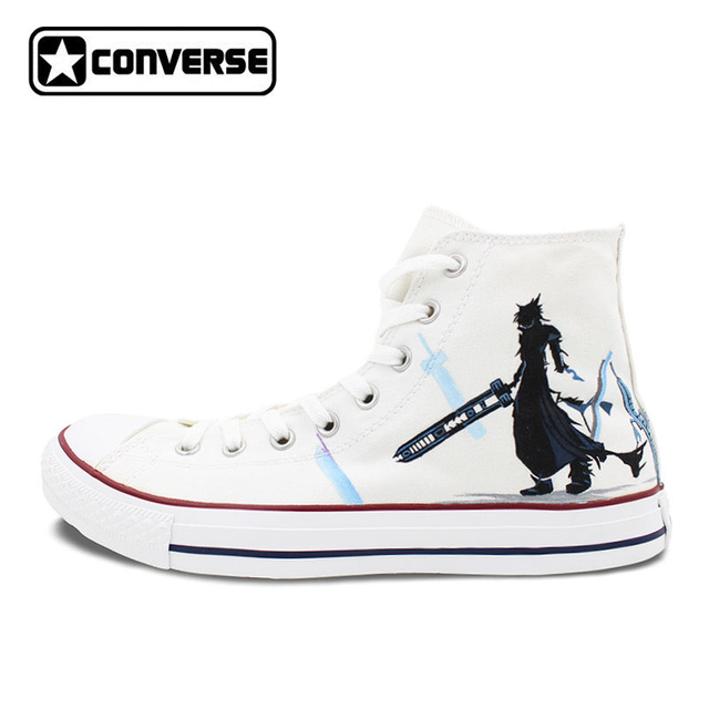 White Converse Chuck Taylor Men Women's Shoes Custom Final Fantasy Design  Hand Painted High Top Sneakers