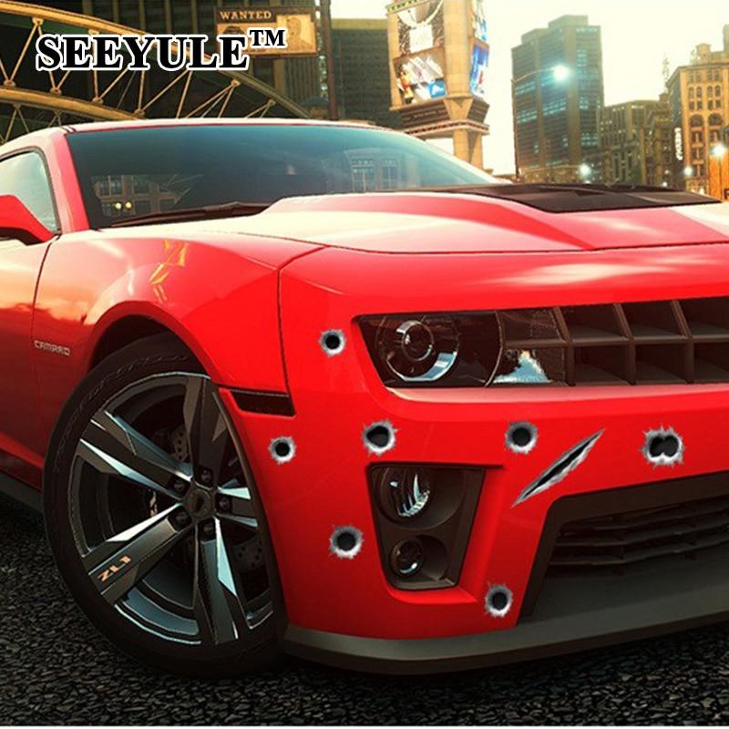 1 piezas SEEYULE Bullet hole Car Sticker car-styling 3D Shoot Hole - Accesorios exteriores para automóviles - foto 1