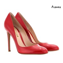 Aiyoway Fashion Women Shoes Ladies Round Toe High Heels Pumps Slip On Autumn Spring Party Dress Shoes Black & Red Thin Heels 2017 fashion women pumps high thick heels open toe flock sequins spring summer autumn sexy dress party office black ladies shoes