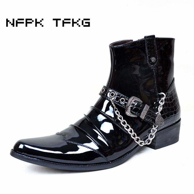 men black punk stage nightclub dress pointed toe genuine leather shoes bright high top spring autumn ankle boots oxfords shoe