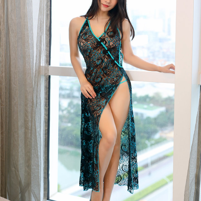 Sexy Peacock Embroidery Cheongsam Long Women Sexy BabyDoll Hollow Out Erotic Apparel Lingerie Porno Costumes Sexy Lingerie Dress