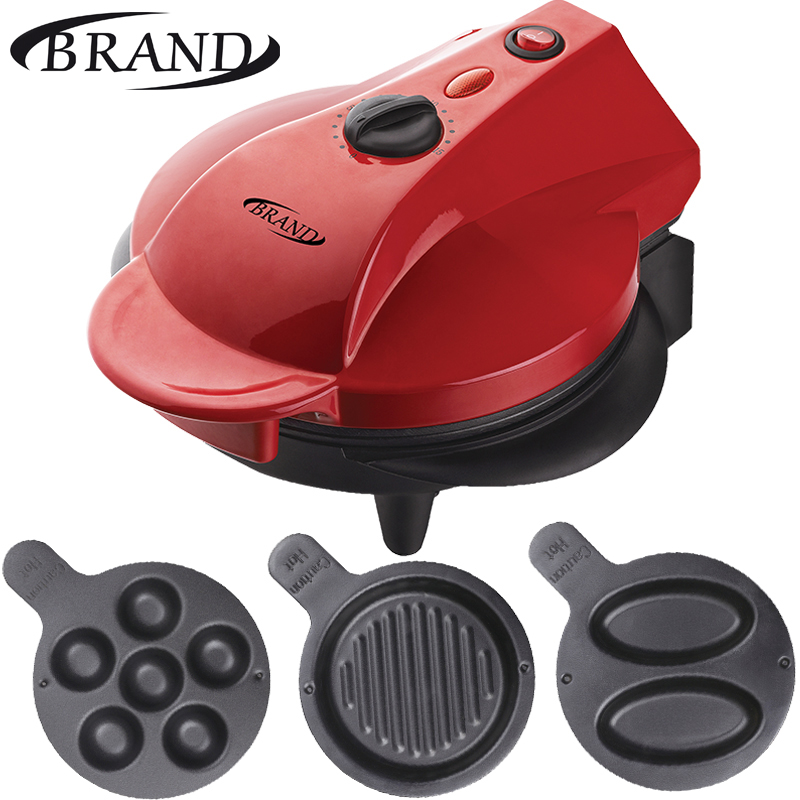 BRAND323 Electric grill Electrical home table grill waffle maker, 3ps plates, timer, power indicator, ready indicator, non-stick non stick electric fish cake grill machine waffle cookie machine taiyaki maker machine