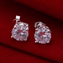 Vintage Studs Earrings Round Silver With Stones Cz Diamond-Jewelry Earings For Girls Boucles D'Oreilles Pour Les Femmes Ce096