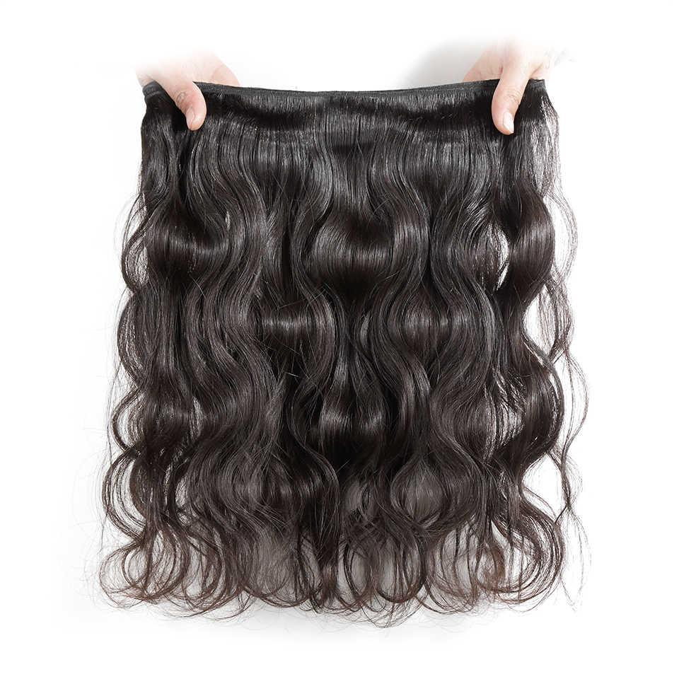 Ali graça cabelo peruano onda do corpo com frontal 3 pacotes com 13*4 parte do meio livre orelha a orelha rendas frontal remy cabelo humano