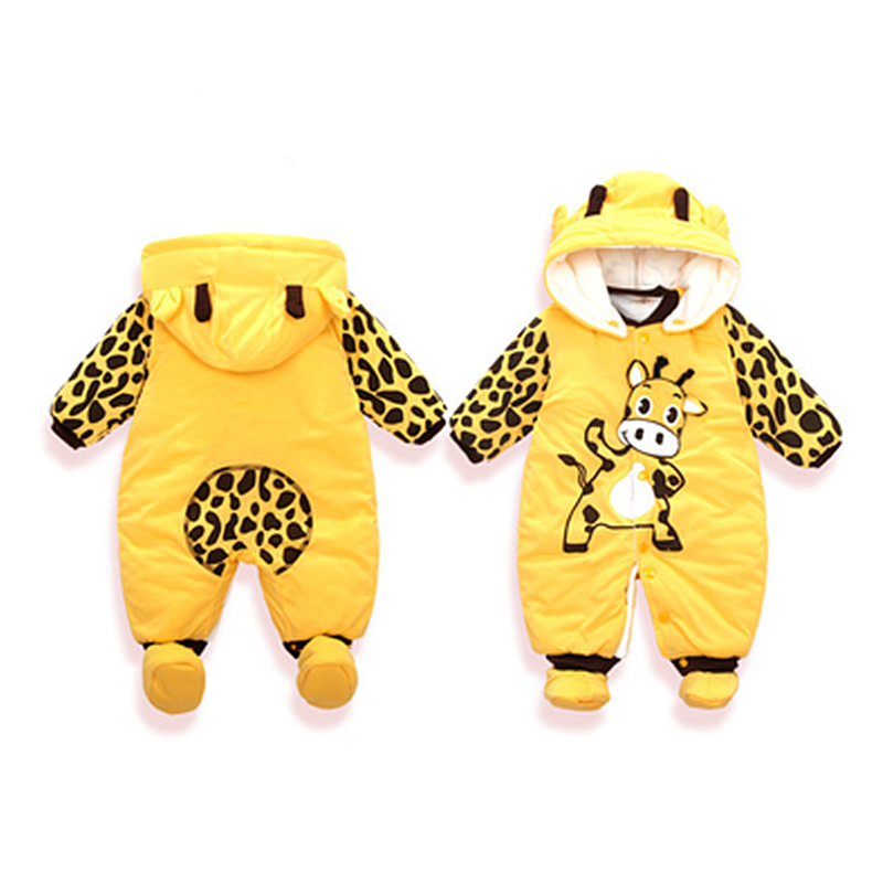 Winter Thick Baby Boy Girl Rompers Cotton Baby Clothes Cartoon Giraffe Pattern Infant Jumpsuits Warm Cute Hooded Kids Clothing 0 12m autumn fleece baby rompers cute pink baby girl boy clothing infant baby girl clothes jumpsuits footed coverall gl001740695