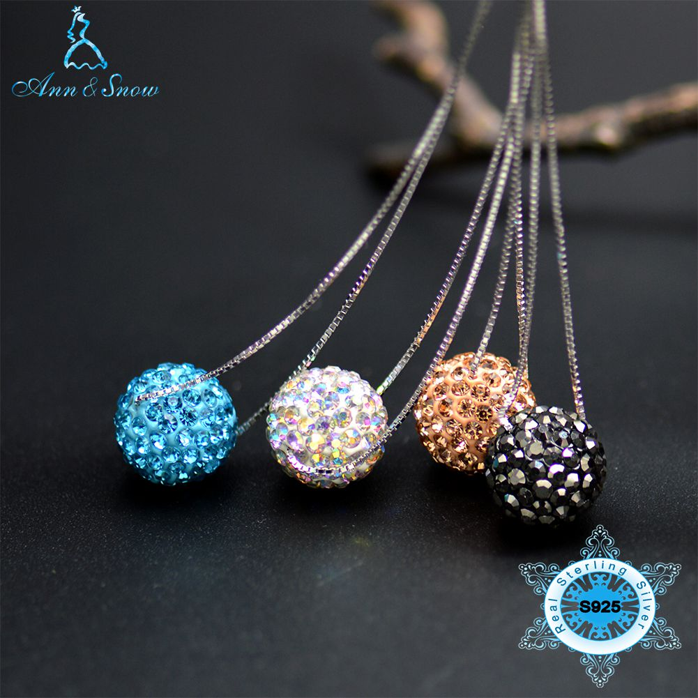 925 Sterling Silver 12mm Crystal CZ Stone Bead High Quality S925 Heart Box Chain Turquoise Peach Ab White Ball Pendant Necklaces925 Sterling Silver 12mm Crystal CZ Stone Bead High Quality S925 Heart Box Chain Turquoise Peach Ab White Ball Pendant Necklaces