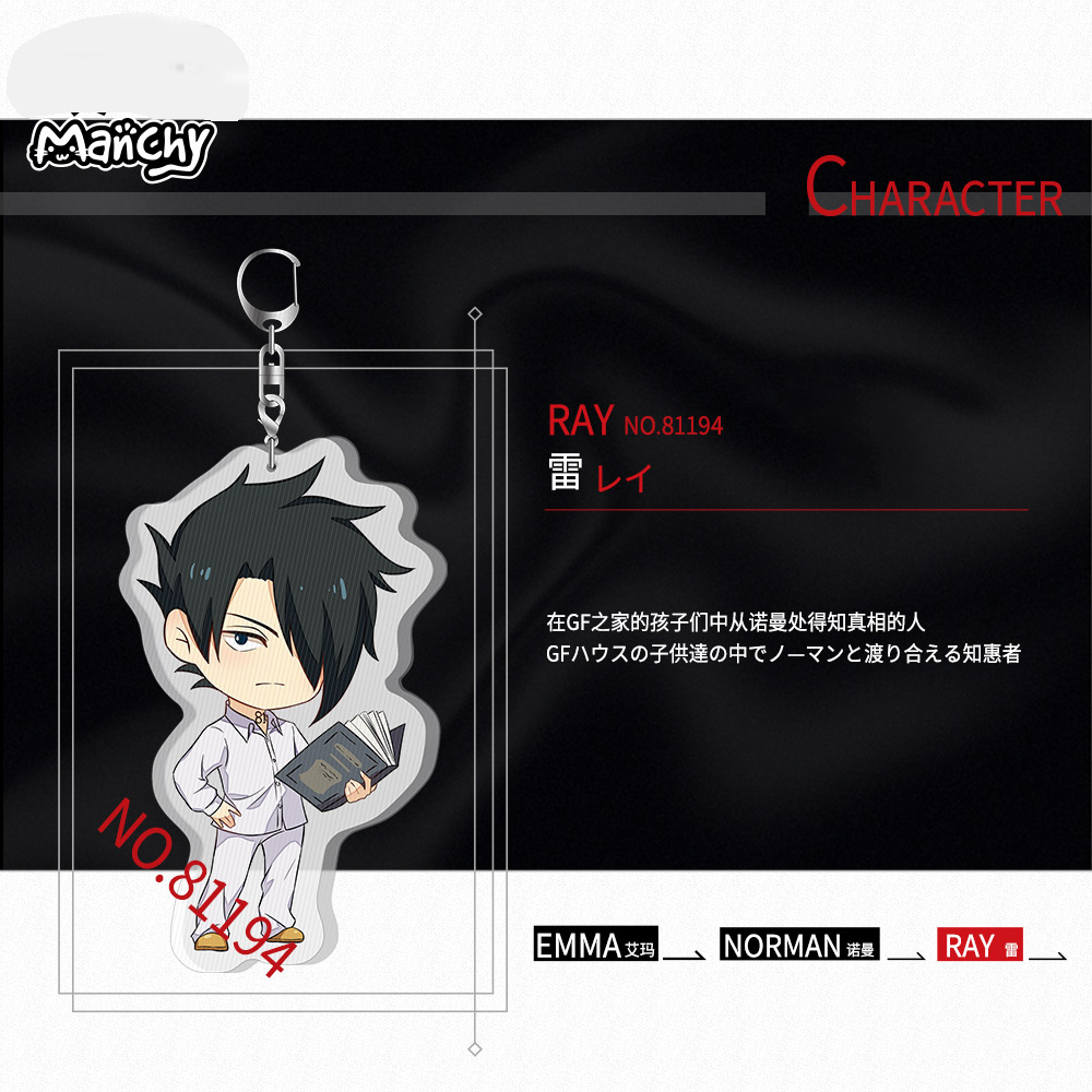 Japan Anime Yakusoku no Neverland The Promised Neverland Emma Norman Ray  Cosplay Acrylic Keychain Charm Keyring Pendant Gifts