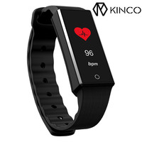 KINCO 0.96 Inch Colorful Display Bluetooth Heart Rate Blood Pressure Monitor Smart Wristband Fitness Sport Bracelet for Phone