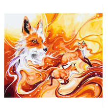 WONZOM Fox DIY Painting By Numbers Kit Animal Acrylic Paint Number Modern Monkey Wall Art Picture Dog Canvas Decor