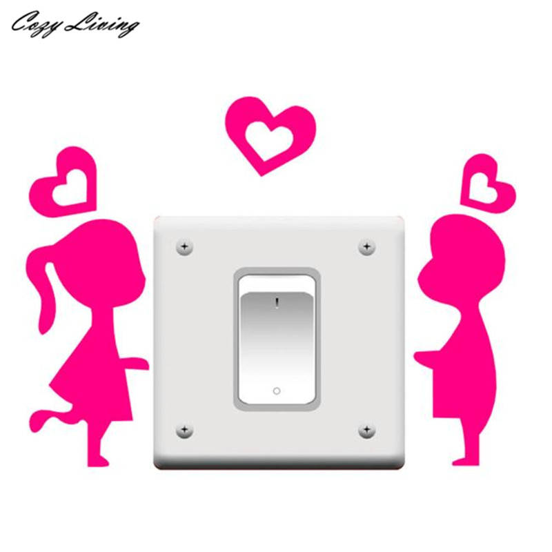 Switch Panel Stickers 1 PC Room Window Wall Decoration Switch Vinyl Decal Sticker Cartoon Couples Wall Sticker Posters D24