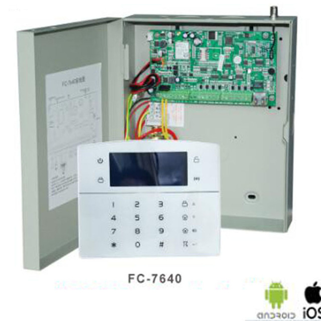 Best Offers Industrial Network Alarm Security System FC-7640 Hard Wired TCP IP Network GSM Alarm w 1pc Password Keypad & 1pc Remote Control