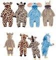 Varejo de moda de Nova Recém estilo Encantador Animal Do Bebê romper Primavera e No outono outerwear bebê Leopardo Zebra Dlephant Coelho romper