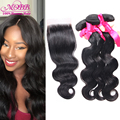 Top qualidade cabelo brasileiro da onda do corpo bundles cabelo com lace closure humano e fechamento preto natural emaranhado livre extensão do cabelo