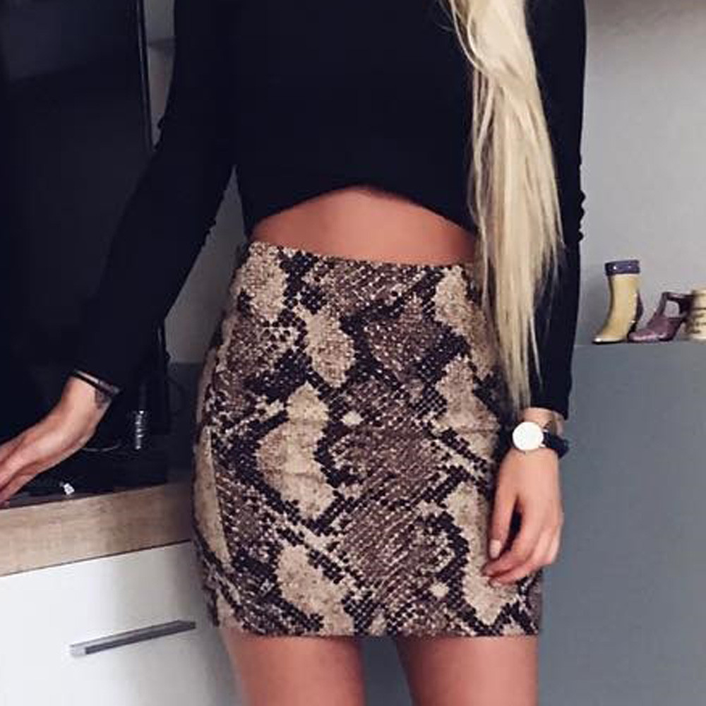 2018 Winter Women Skirt Vintage Sexy Snakeskin Patterned Bodycon Skirt Sexy High Waist Elastic Short Pencil Skirt saia
