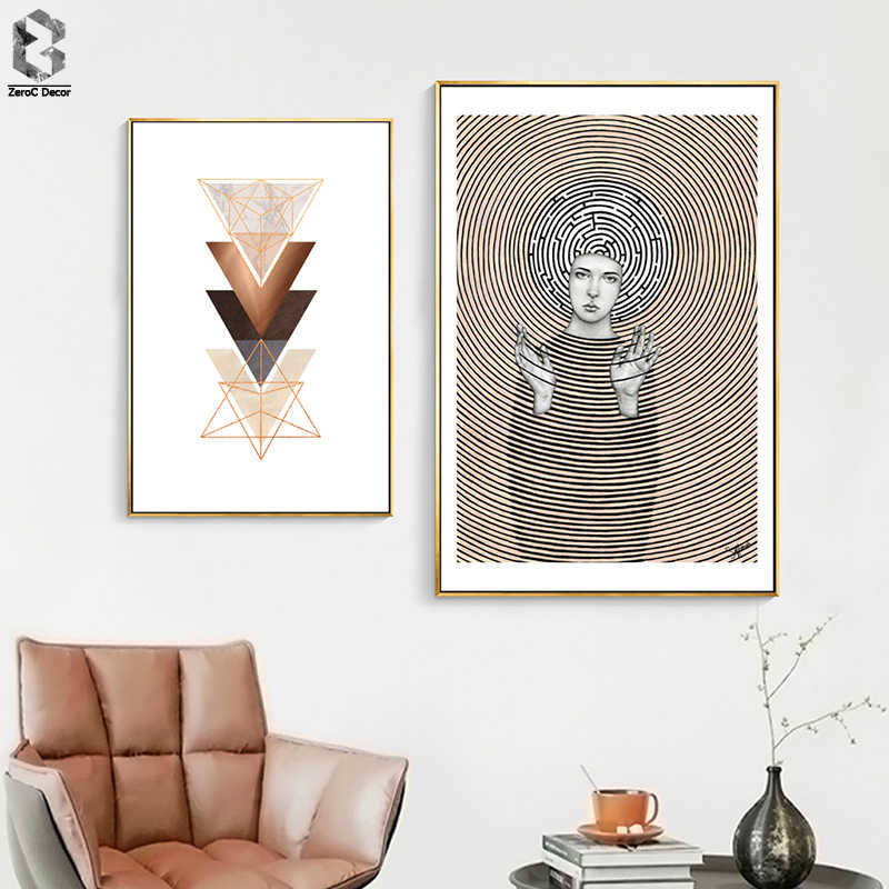 Nordic Minimalist Abstract Line Geometric Canvas Paintings Girl Portrait Posters Prints Wall Art Pictures for Living Room Decor
