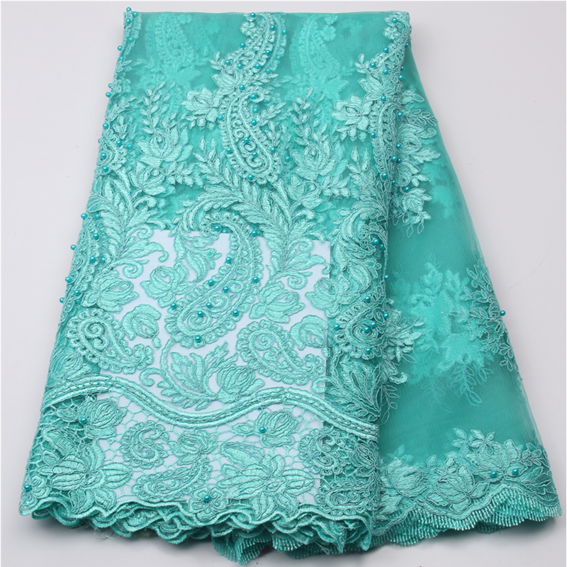 Latest french net lace fabric 2017 african beaded lace fabric high quality guipure cord lace fabric