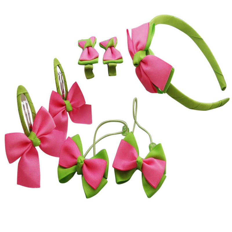 Gilrs   Headwear   Set Hairpins Elastic Hair Bands Handmade Dots Headbands Hair Clips Girls Hair Accessories
