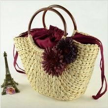 2016 торговля новая соломой мешки кукурузы сумки сумка цветы дерево переплетения соломы мешки factory outlet женщины пляжная сумка