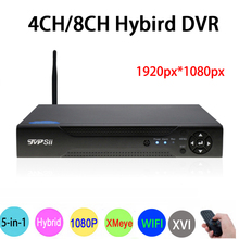 Hi3521A XMeye 8CH/4CH 1080P Full HD Surveillance Video Recorder 6 in 1 Hybrid Wifi Onvif NVR TVI CVI AHD DVR Free Shipping