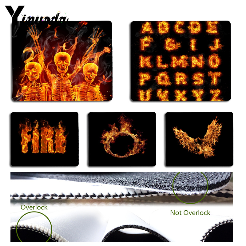 Yinuoda Custom Skin Cool Flame Art Computer Gaming Mousemats Size for 180x220x2mm and 250x290x2mm Rubber Mousemats