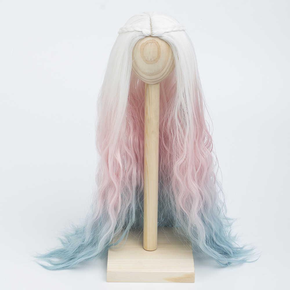Высокое качество кукла волосы парики теплостойкая проволока белый розовый синий Ombre цвет парики для BJD куклы