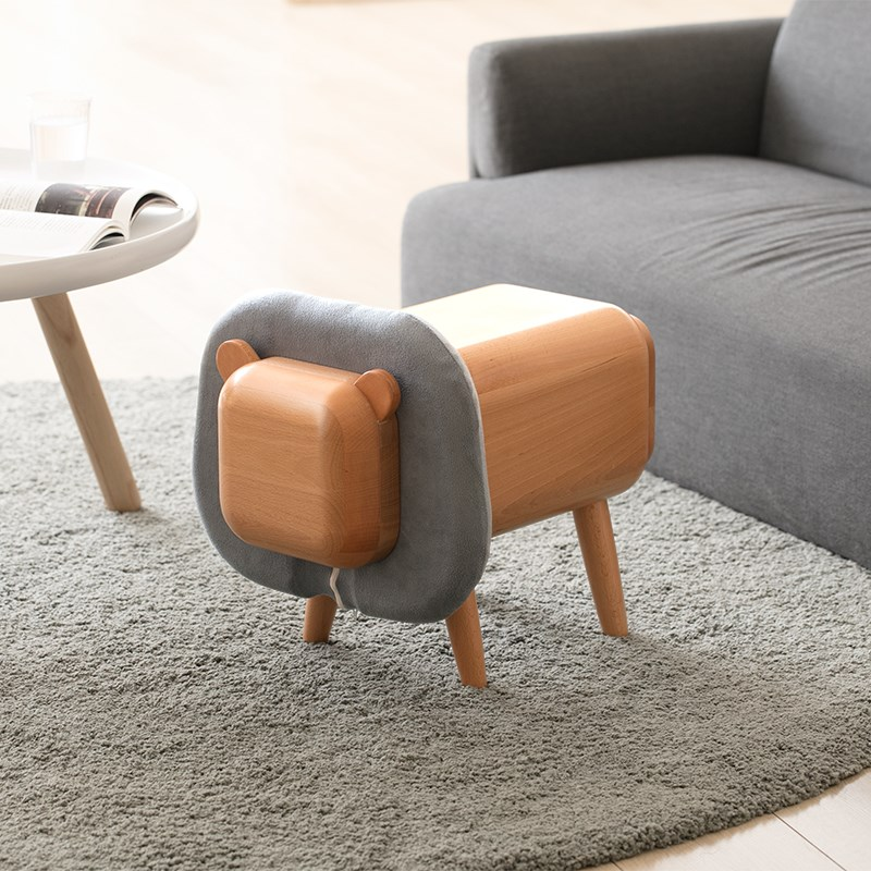 Beech Wood Animal Storage Stool With Drawer Cartoon Cute Children Gift Riding Toy Friendly Painting Furniture
