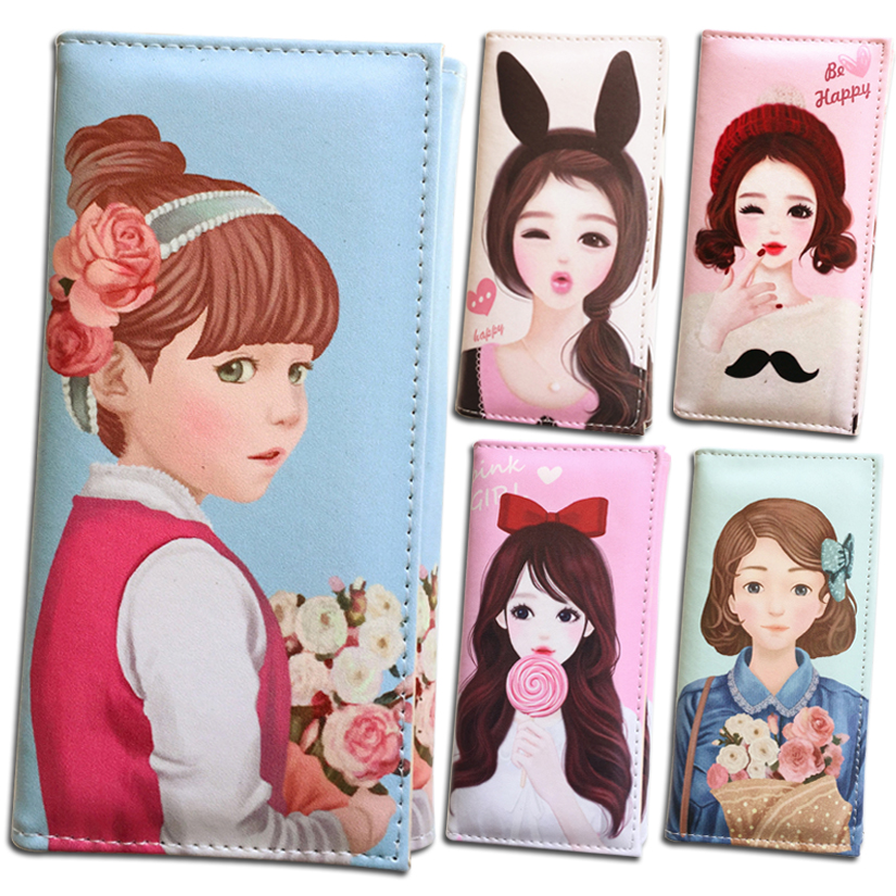 Lady Purses Women Wallets Lovely Girls Doll Pattern Female Handbags Woman Long Clutch Coin Purse Cards Holder Wallet Burse Bags marilyn monroe character women wallets lady purses handbags coin purse long clutch moneybags blue wallet cards holder burse bags