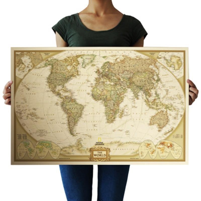 Винтаж ретро матовый Kraft бумага карта мира античный плакат стены стикеры домашний декор