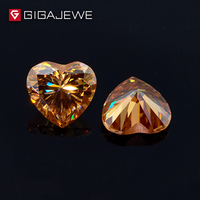 GIGAJEWE Heart Cut Golden Color Moissanite Stone 1ct 6.5mm Gem Making Fashion Jewelry Customize Beads DIY Girlfriend Gifts