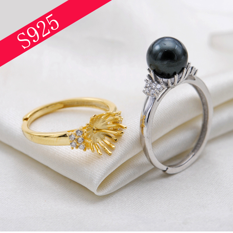 S925 Sterling Sliver Pearl Ring Setting Woman Oyster Pearl Ring Making Mounts Inlaid Zircon Adjustable Rings