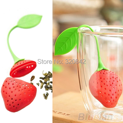 1 Silicone tea strainer personality hollow out Strawberry Design Loose Tea filter Strainer Herbal Spice Infuser Filter tea Tools
