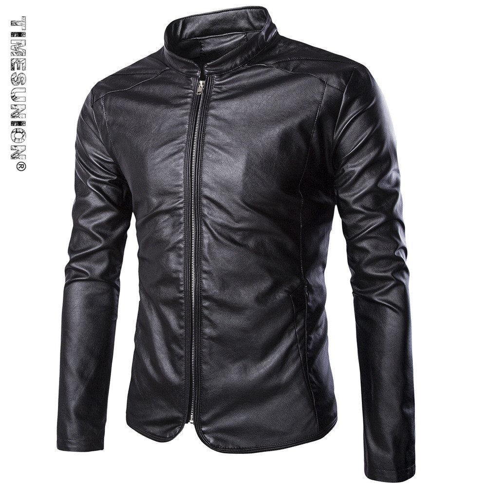 2017 Mens Popular Handsome Artificial Leather Jacket Punk Style New Red Leather Jackets Zipper Men Chupas Jaqueta De Couro 5xl