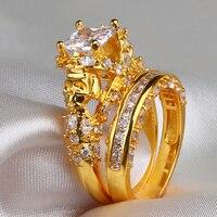 7mm White Sapphire Zircon Punk Skull Yellow Gold Demon Women S Ring Wedding Band Ring Jewelry