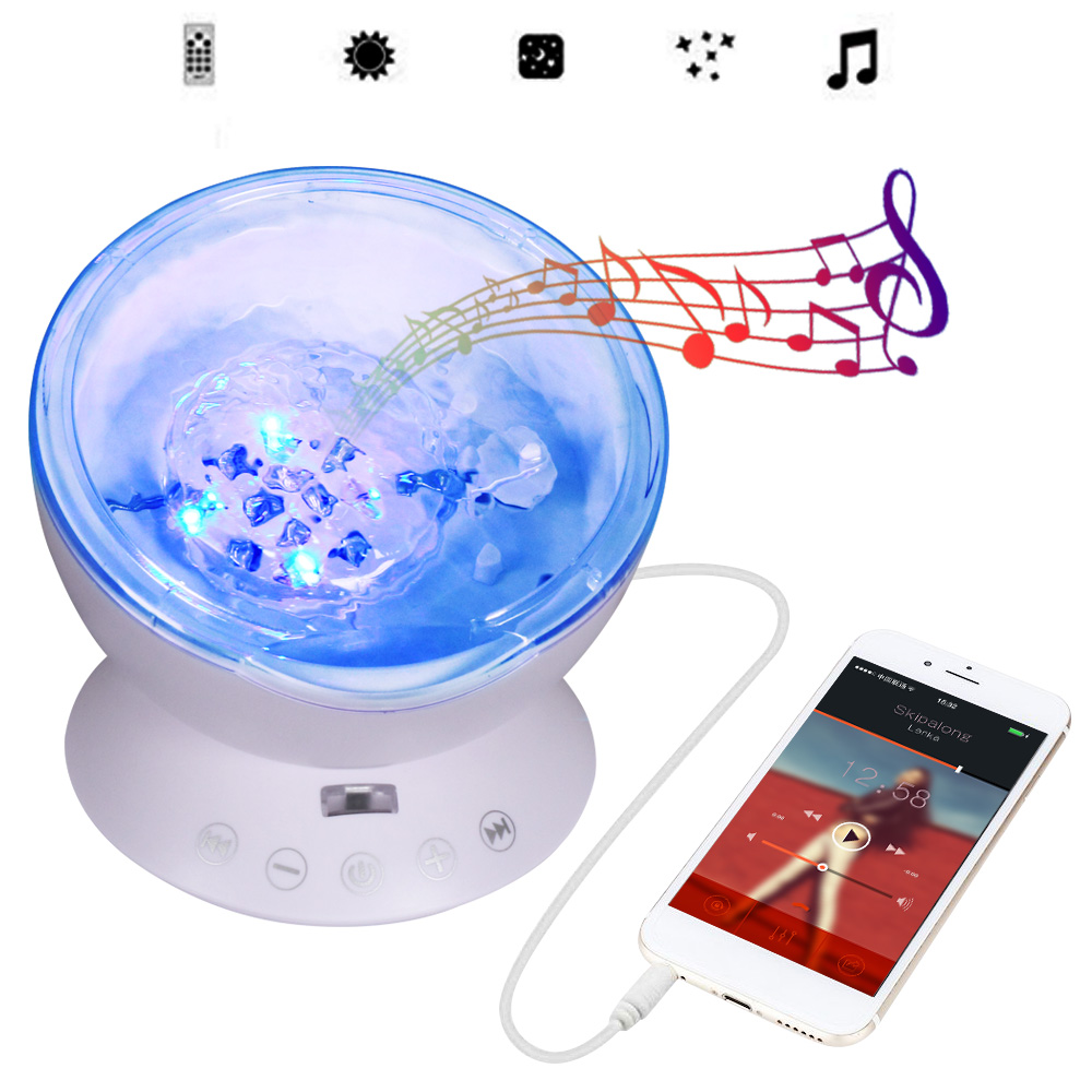 T-SUNRISE Ocean Wave Music Baby Night Light Proyector Mini - Luces nocturnas - foto 2