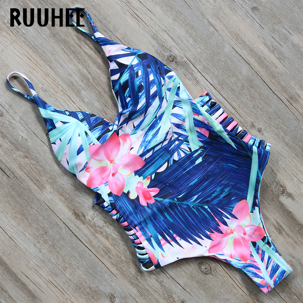 RUUHEE Newest One Piece Swimsuit Bodysuit Swimwear Women Printed Bathing Suit Monokini Maillot De Bain Femme Push Up Swim Suit letter print raglan hoodie