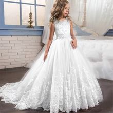 White Children's Dresses New Girl's Wedding Garment 2019 Princess dress Wedding Flower Girl dress 3 4 5 6 7 8 9 10 11 12 Yrs(China)